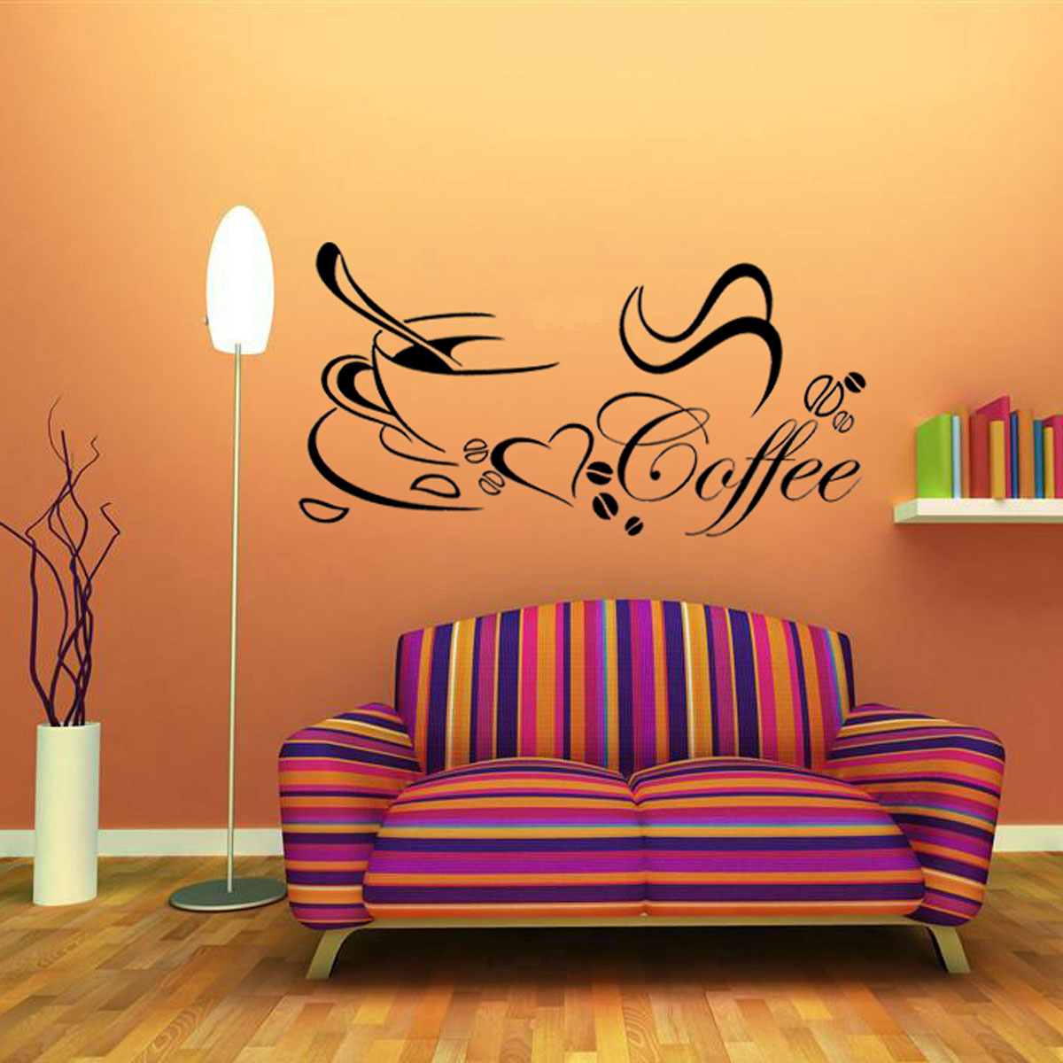 Coffee cup kitchen heart beauty removable art diy home for Diy wall photo mural