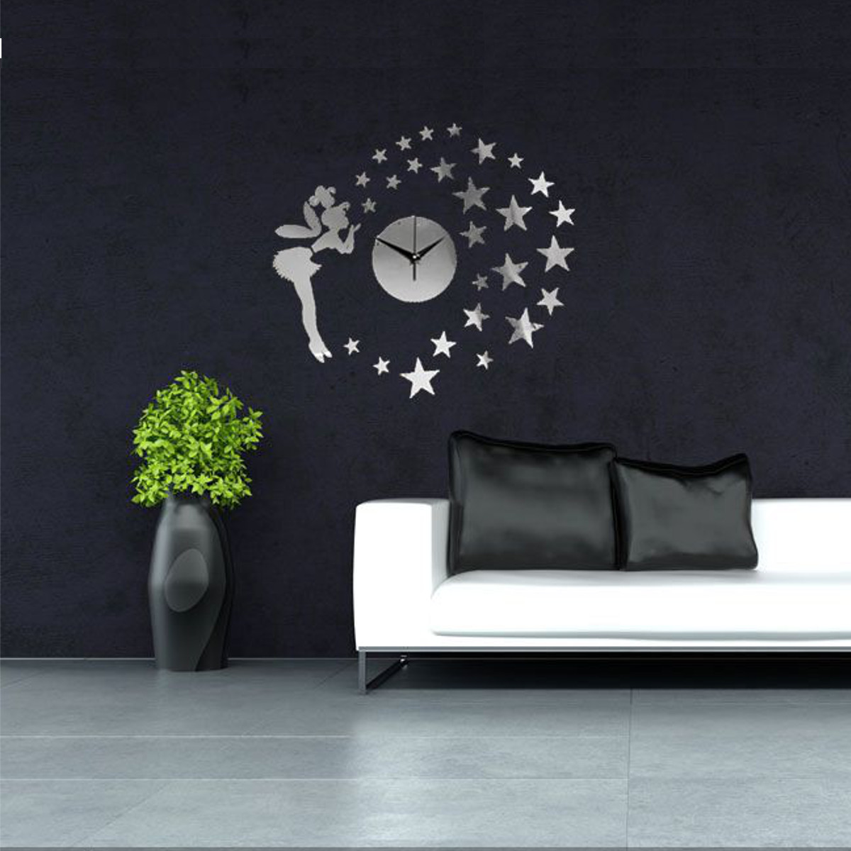 Diy 3d modern acrylic fairy star mirror wall clock home for 3d acrylic mirror wall sticker clock decoration decor