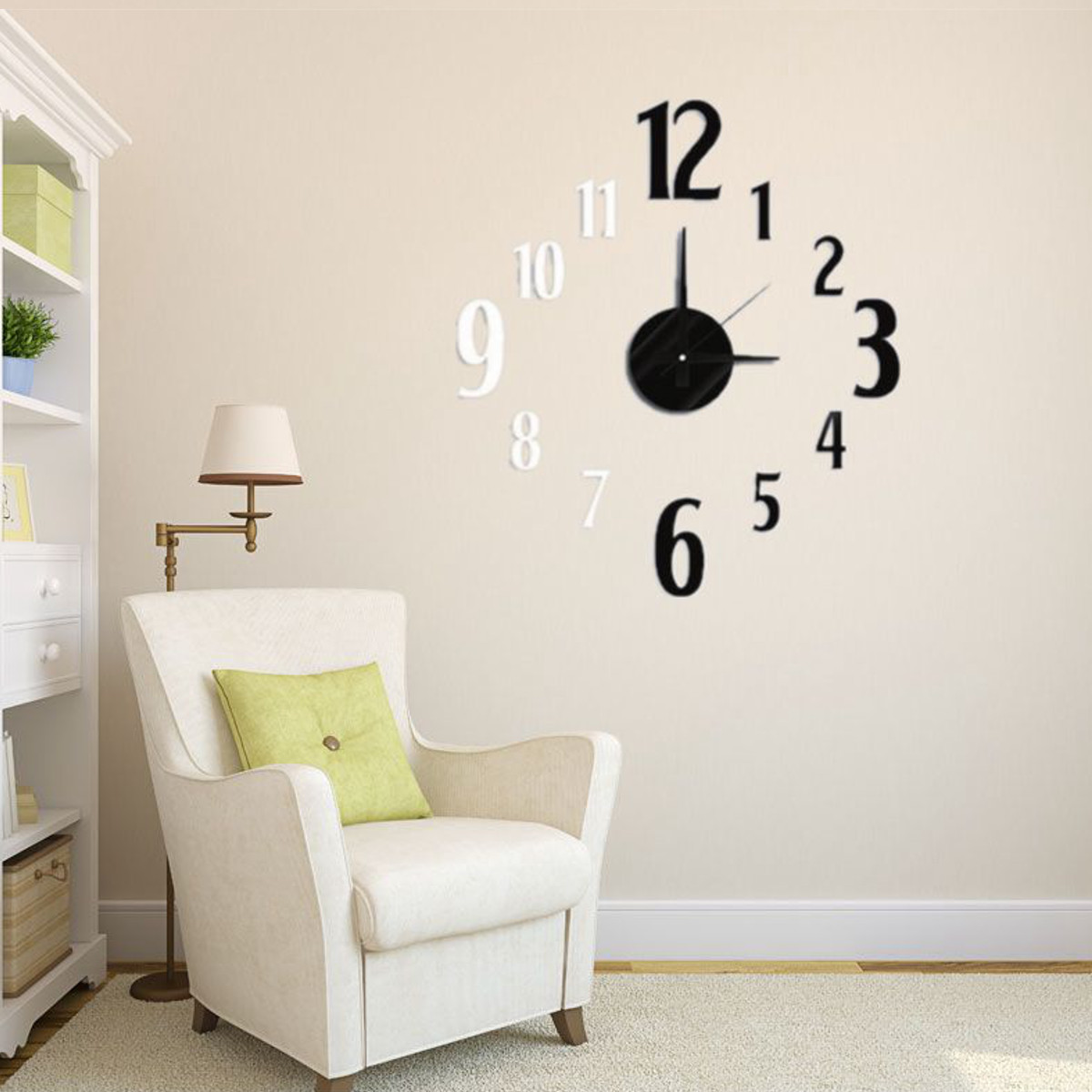 3d horloge murale pendule diy montre autocollant sticker. Black Bedroom Furniture Sets. Home Design Ideas