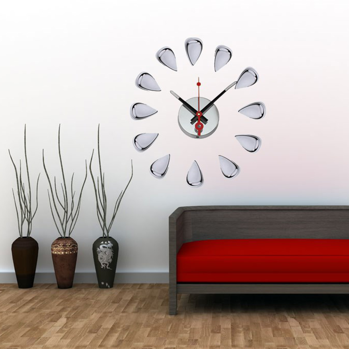 Modern acrylic mirror surface diy large wall clock sticker for 3d acrylic mirror wall sticker clock decoration decor