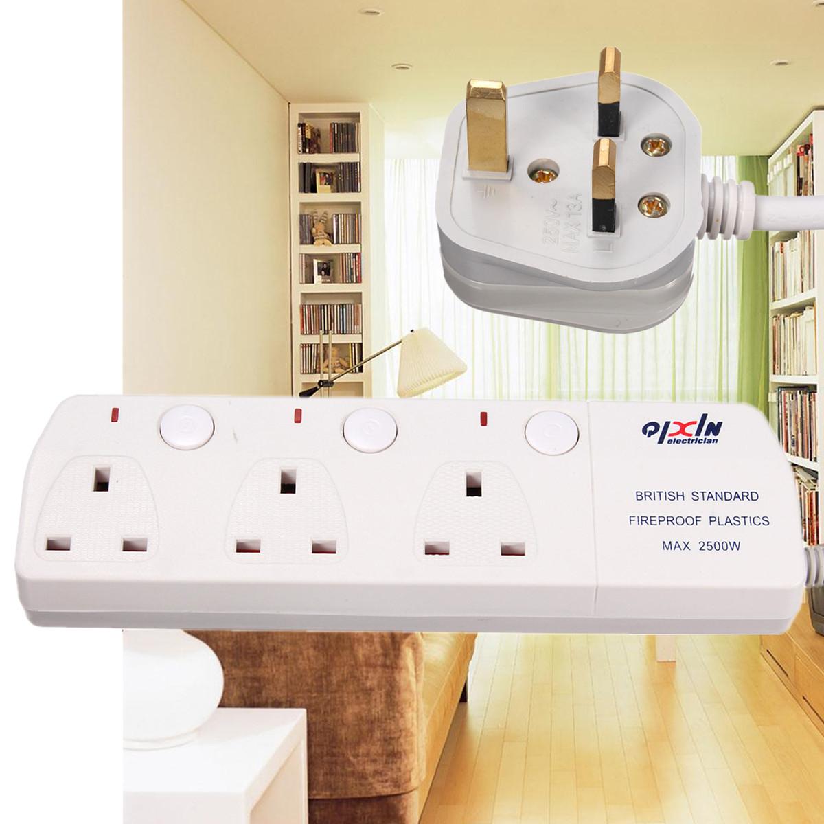 uk plug 3 outlet socket bloc prise electrique adaptateur extension cable switch ebay. Black Bedroom Furniture Sets. Home Design Ideas