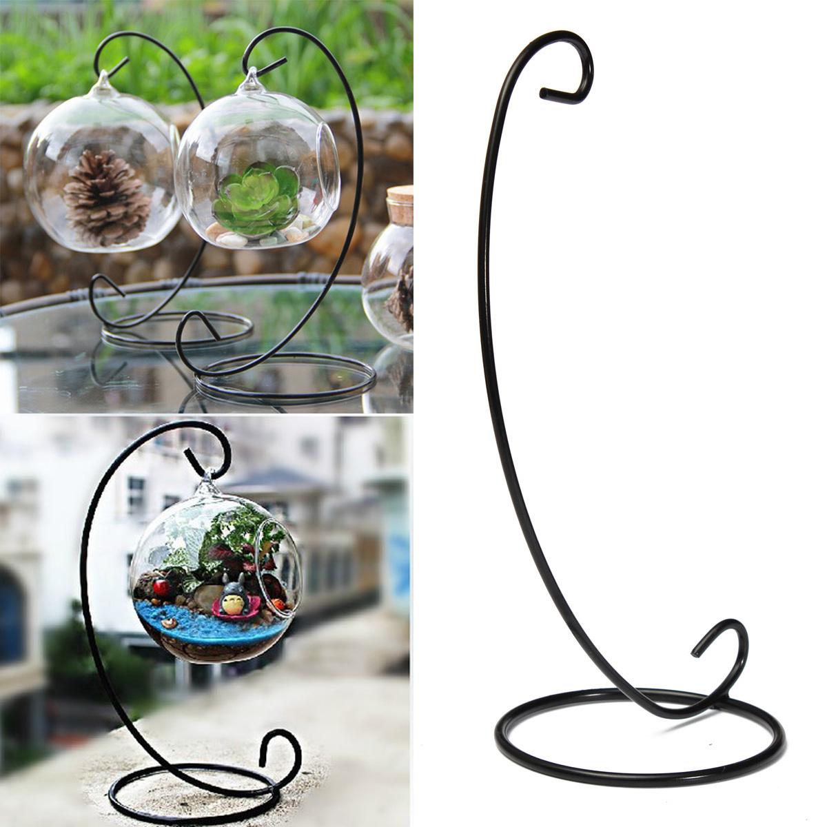 23cm 9 black iron plant stand holder for clear glass. Black Bedroom Furniture Sets. Home Design Ideas