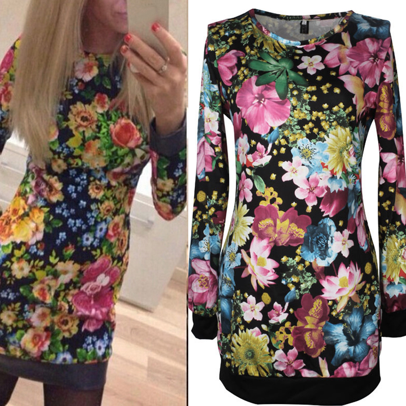 ZANZEA 2015 Sexy Women Lady Long Sleeve Bodycon Printed Flower Dress Long Top