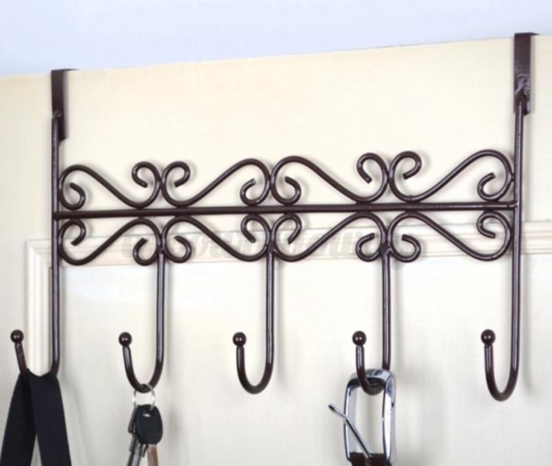 5 hooks towel coat clothes bag over door bathroom hanger for Bathroom clothes hanger