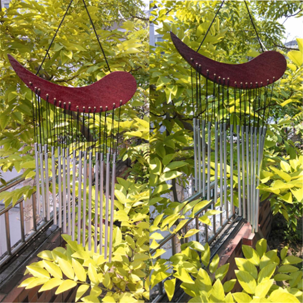 carill n de viento madera campanas de tubo de metal sonido de curaci n decoraci n de jard n al. Black Bedroom Furniture Sets. Home Design Ideas