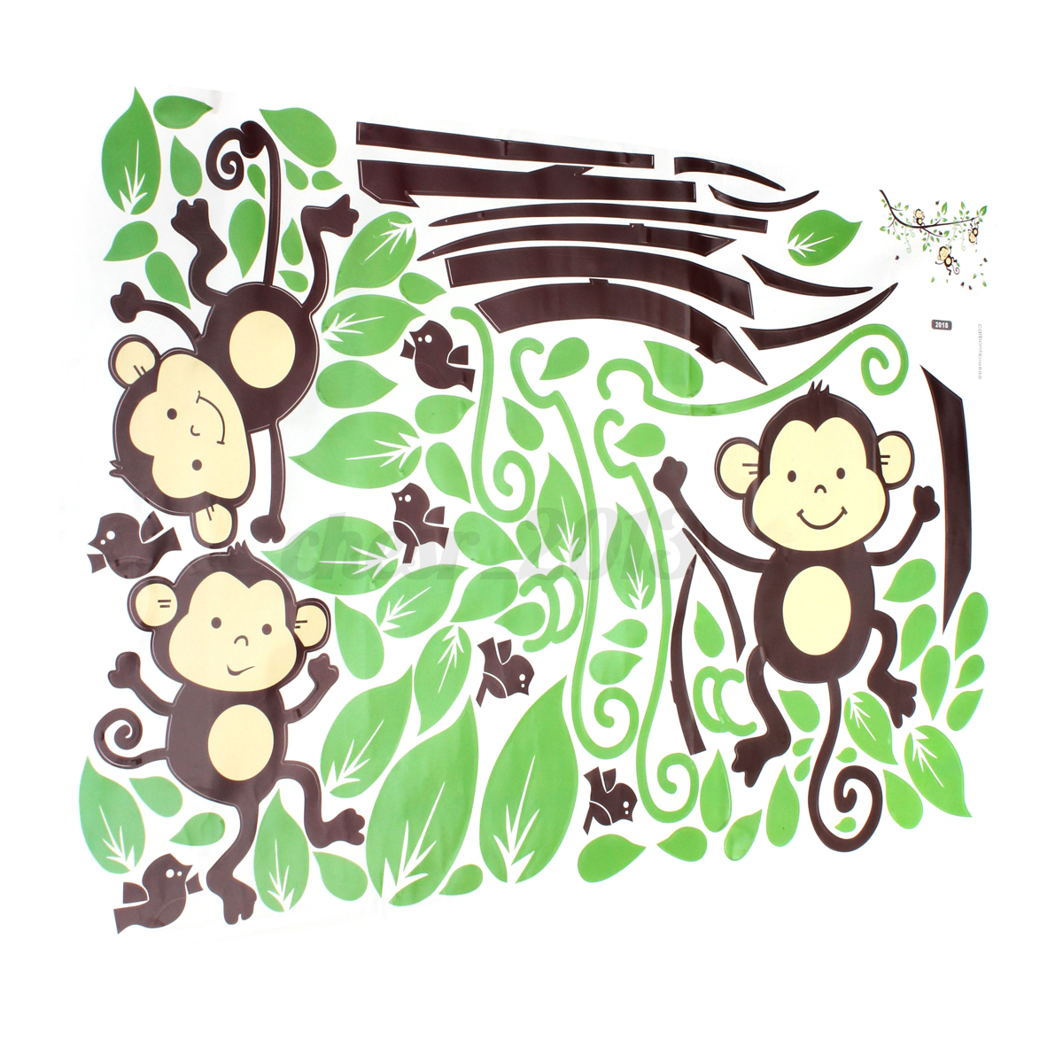 Wall Art Stickers Jungle : Monkey tree birds wall stickers kids nursery art decal