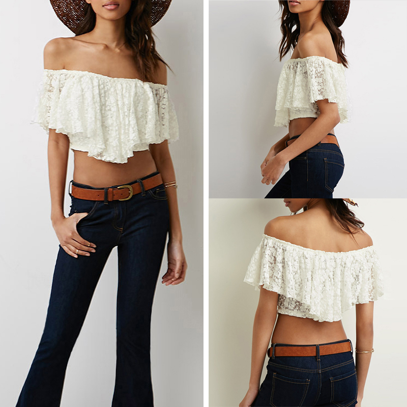 ZANZEA 2015 HOT Women Sexy Off Shoulder Blouse Short Sleeve Lace Shirt Crop Top