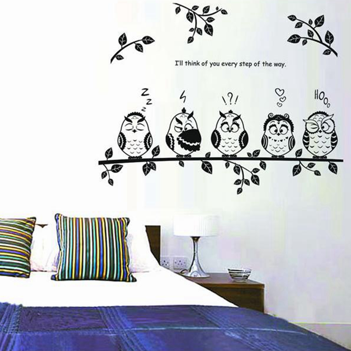 Owl birds removable decal mural kids nursery bedroom decor for Decoration autocollant mural