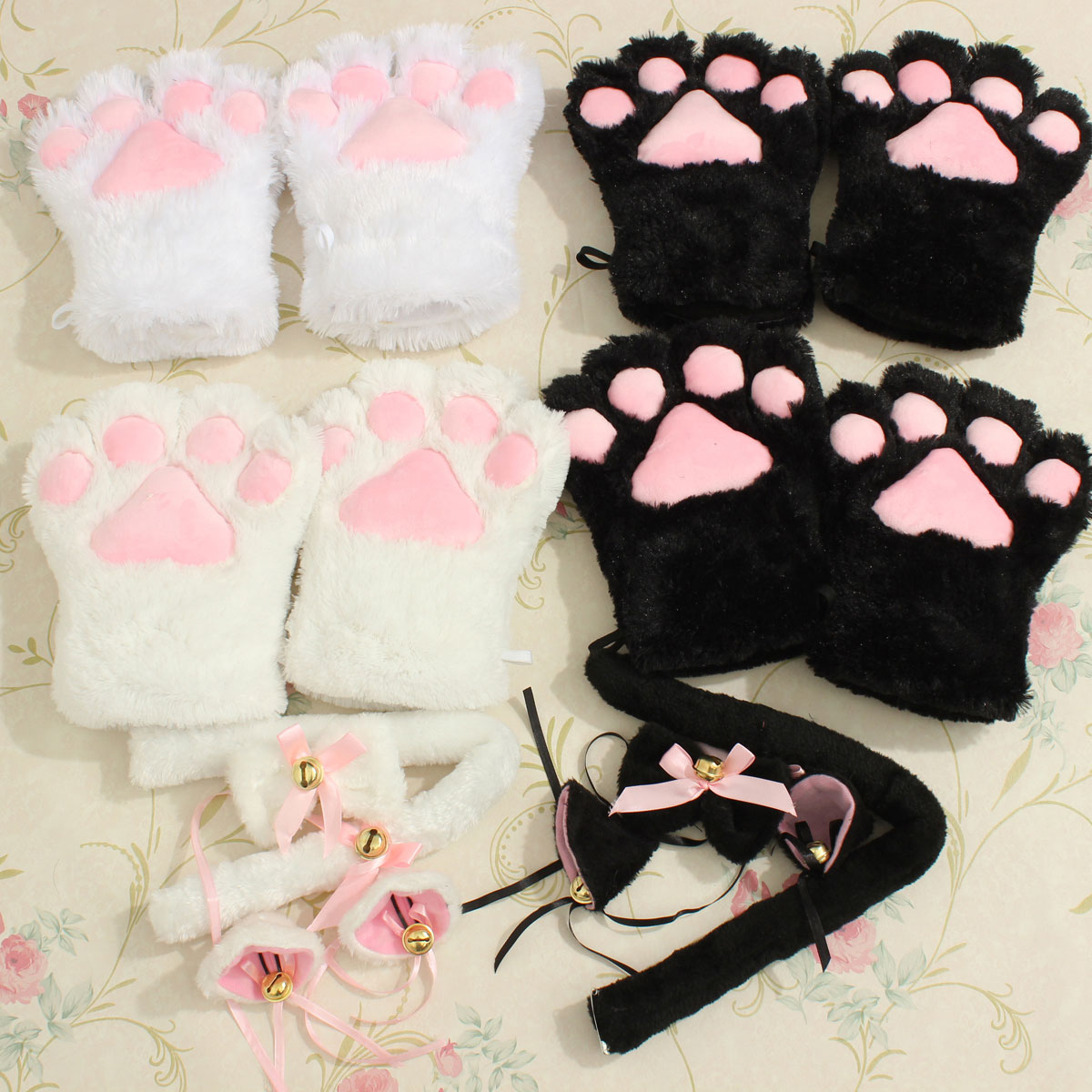 White Cat Ears And Tail Set