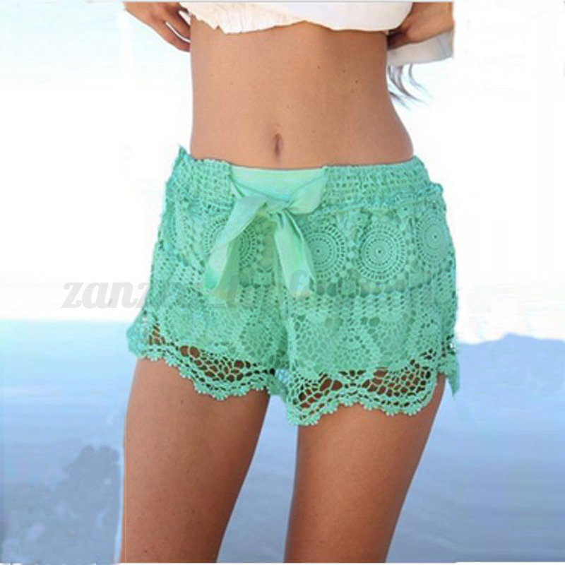 Women Crochet Floral Tiered Lace Elastic Waist Shorts Pant Mini Skort Skirt Pant