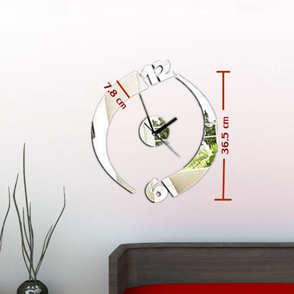 Modern Art Decor Wall Clock Sticker : Modern acrylic mirror surface diy large wall clock sticker