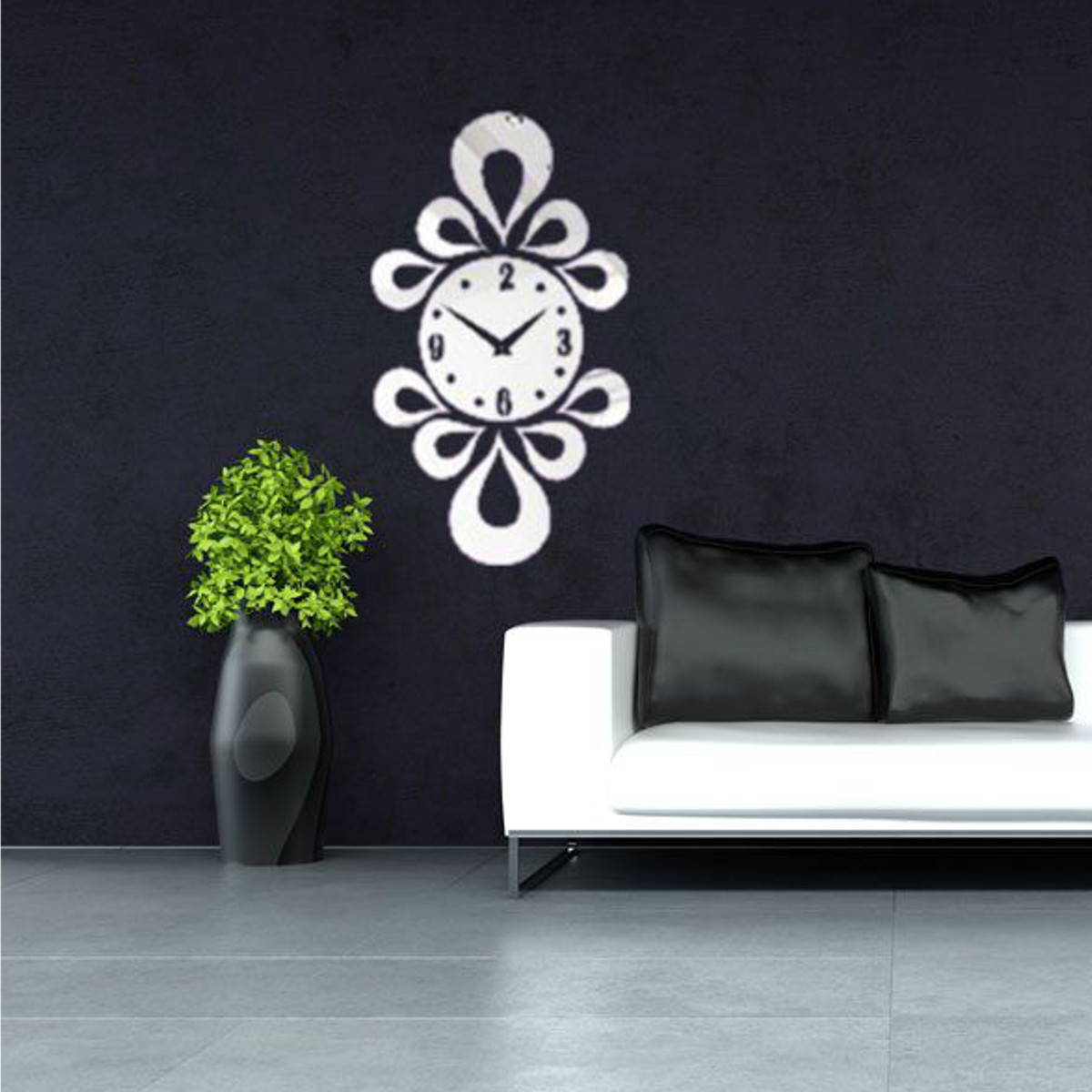 Modern acrylic mirror surface diy large wall clock sticker home time decal decor ebay - Wall decor mirror home accents ...