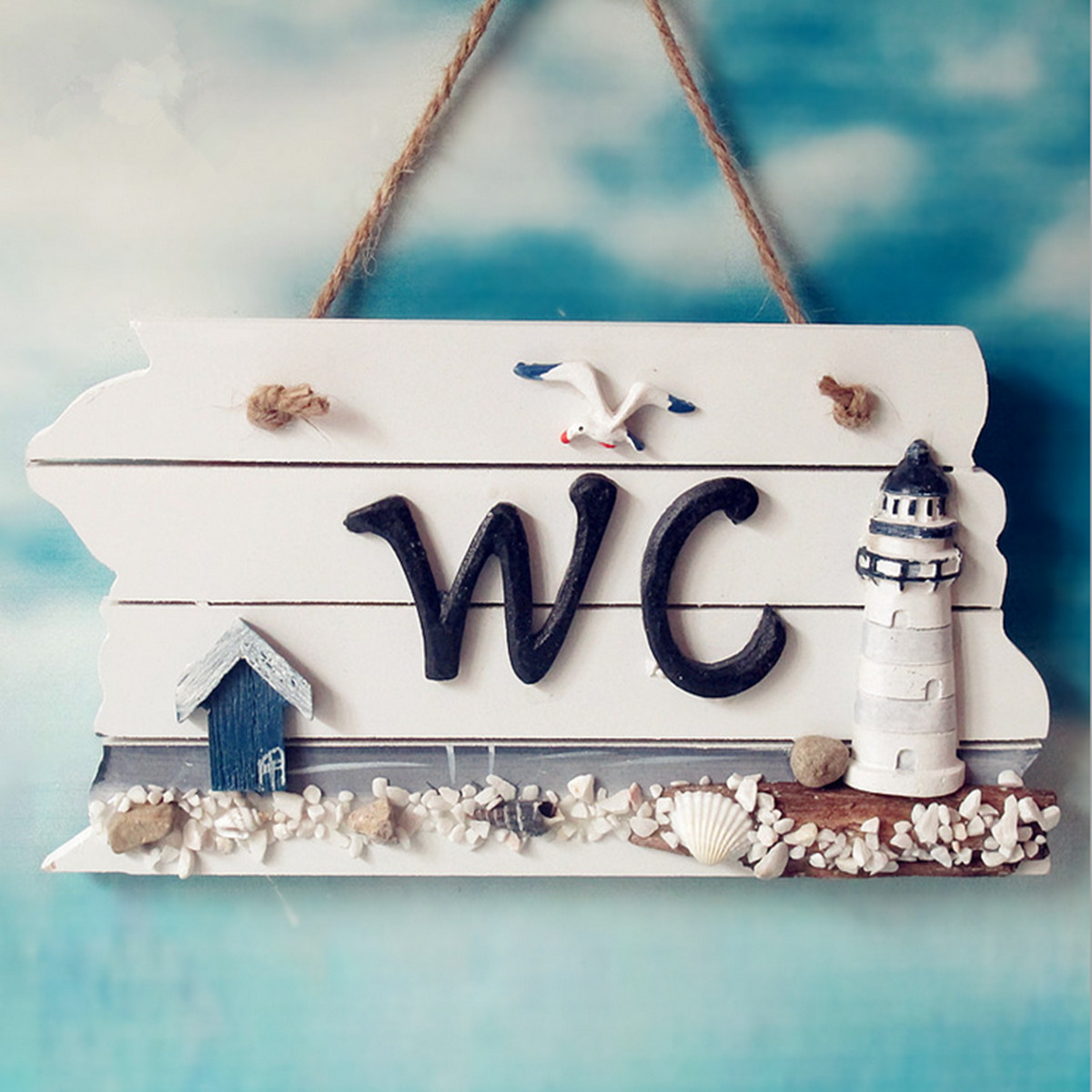 Wood WC Shingle Hanging Doorplate Nautical Home Plaque Door Sign Decor Xmas Gift