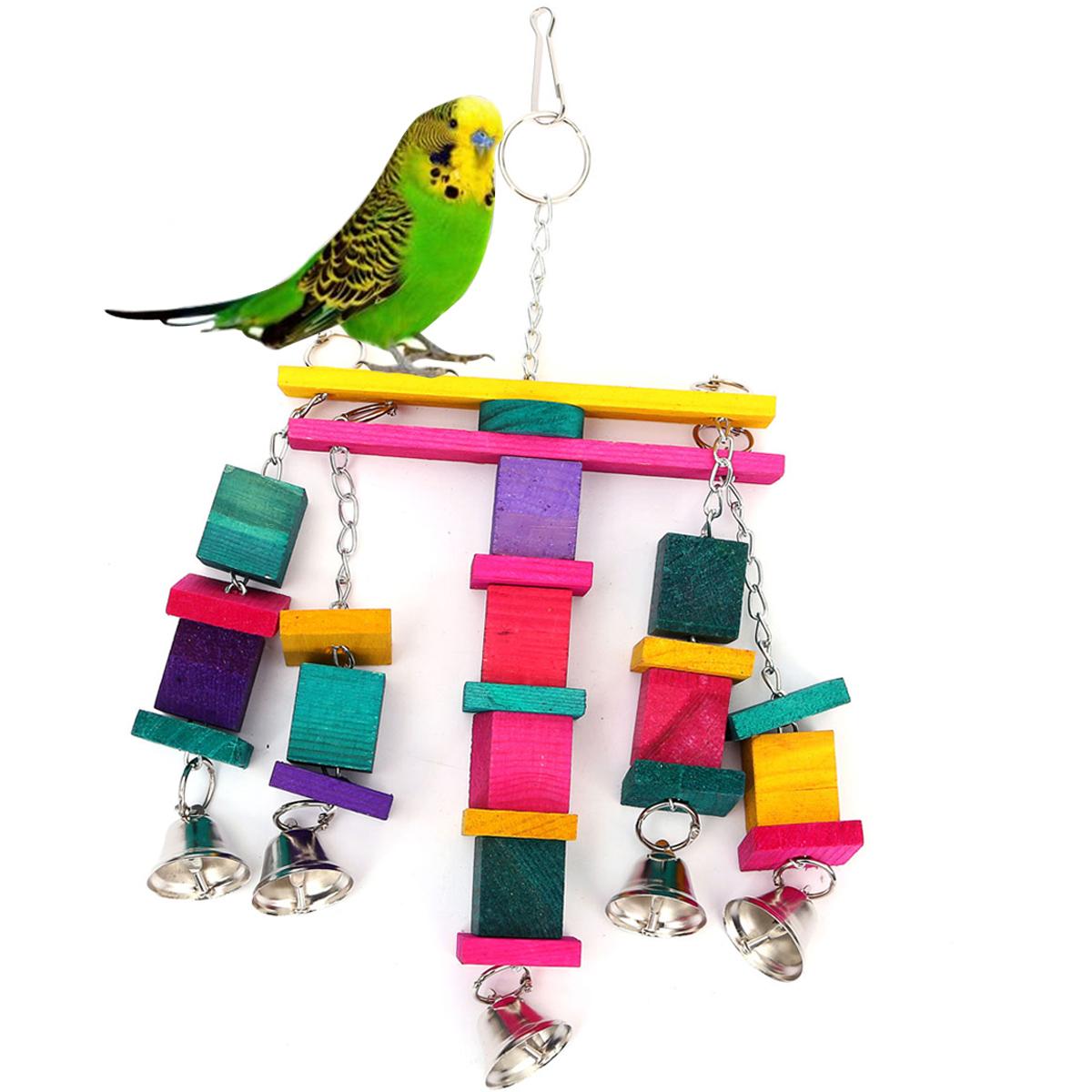 jouet pour oiseau balan oire suspension chelle bois cage perruche perroquet ebay. Black Bedroom Furniture Sets. Home Design Ideas