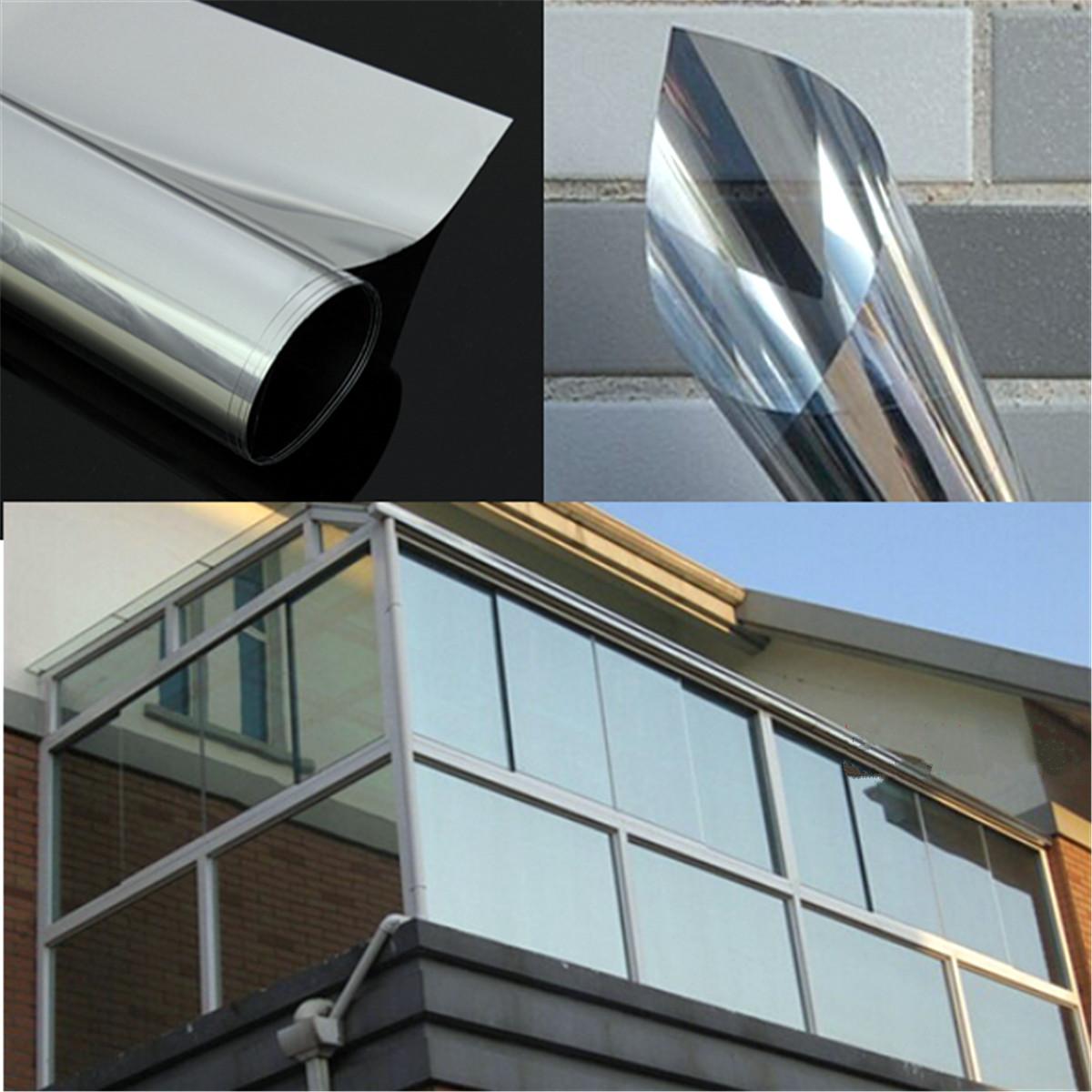 1pc mirror silver solar reflective window film one way privacy tint 50cm x 1m ebay. Black Bedroom Furniture Sets. Home Design Ideas