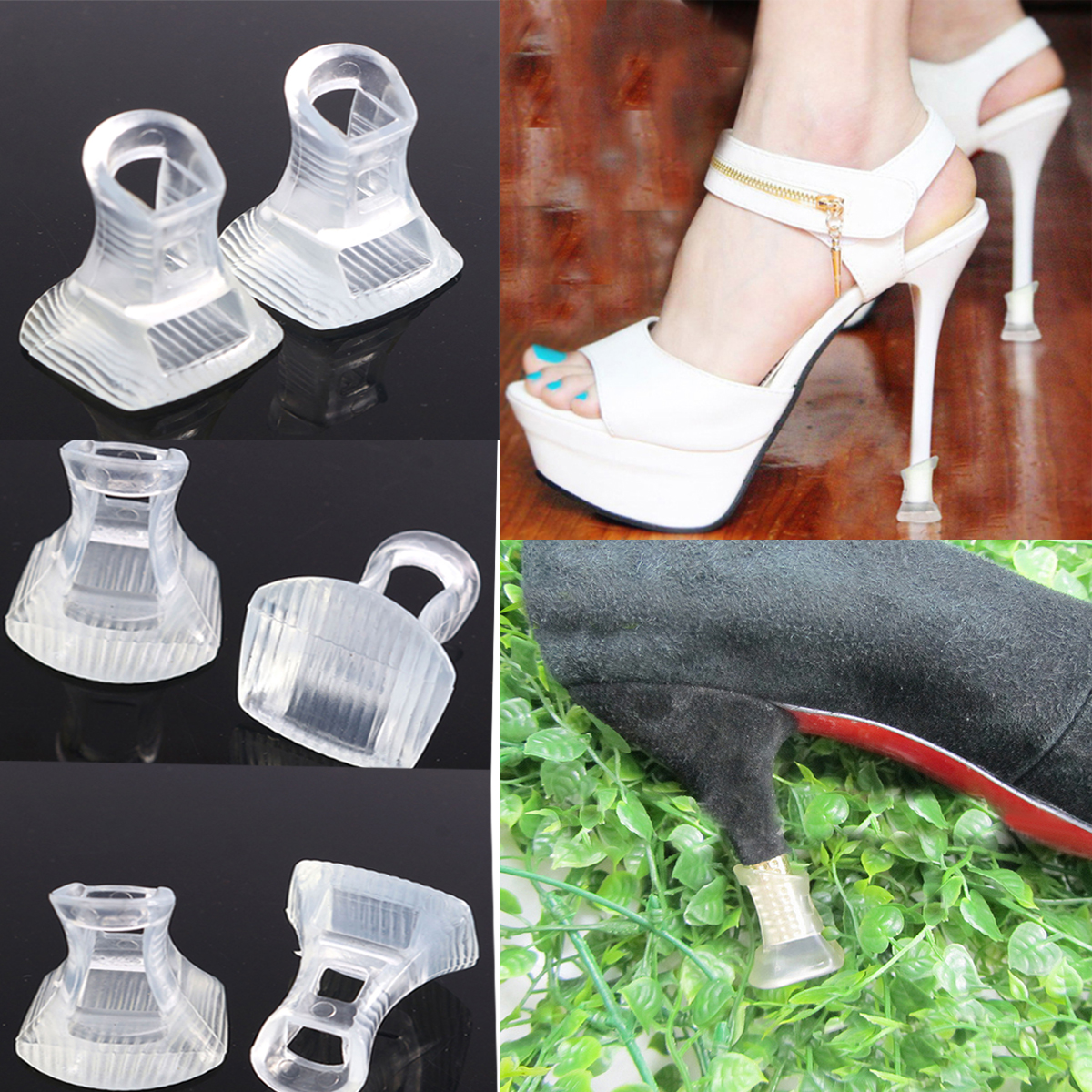 81d810efe59 1 Pair Footful Clear Stiletto High Heel Protectors Covers Shoes Stoppers 3  Sizes | eBay
