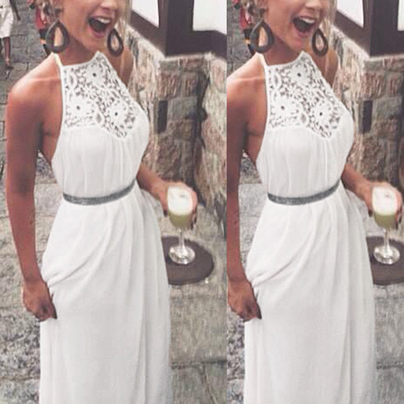 Ladies Boho Lace Crochet Backless Long Maxi Dress Cocktail Party Beach Sundress