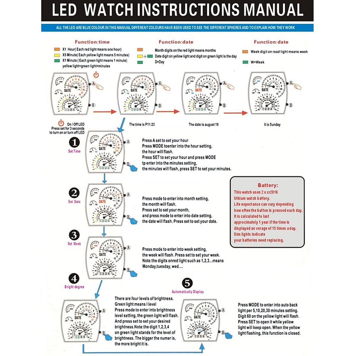 rpm turbo blue flash led watch instructions