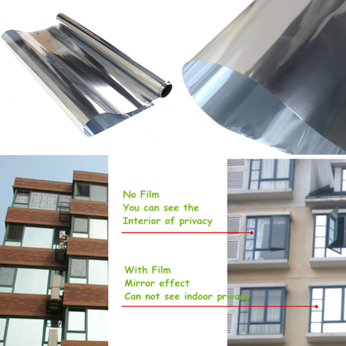 2m 20 solar reflective window film paper insulation for 2 way mirror window film
