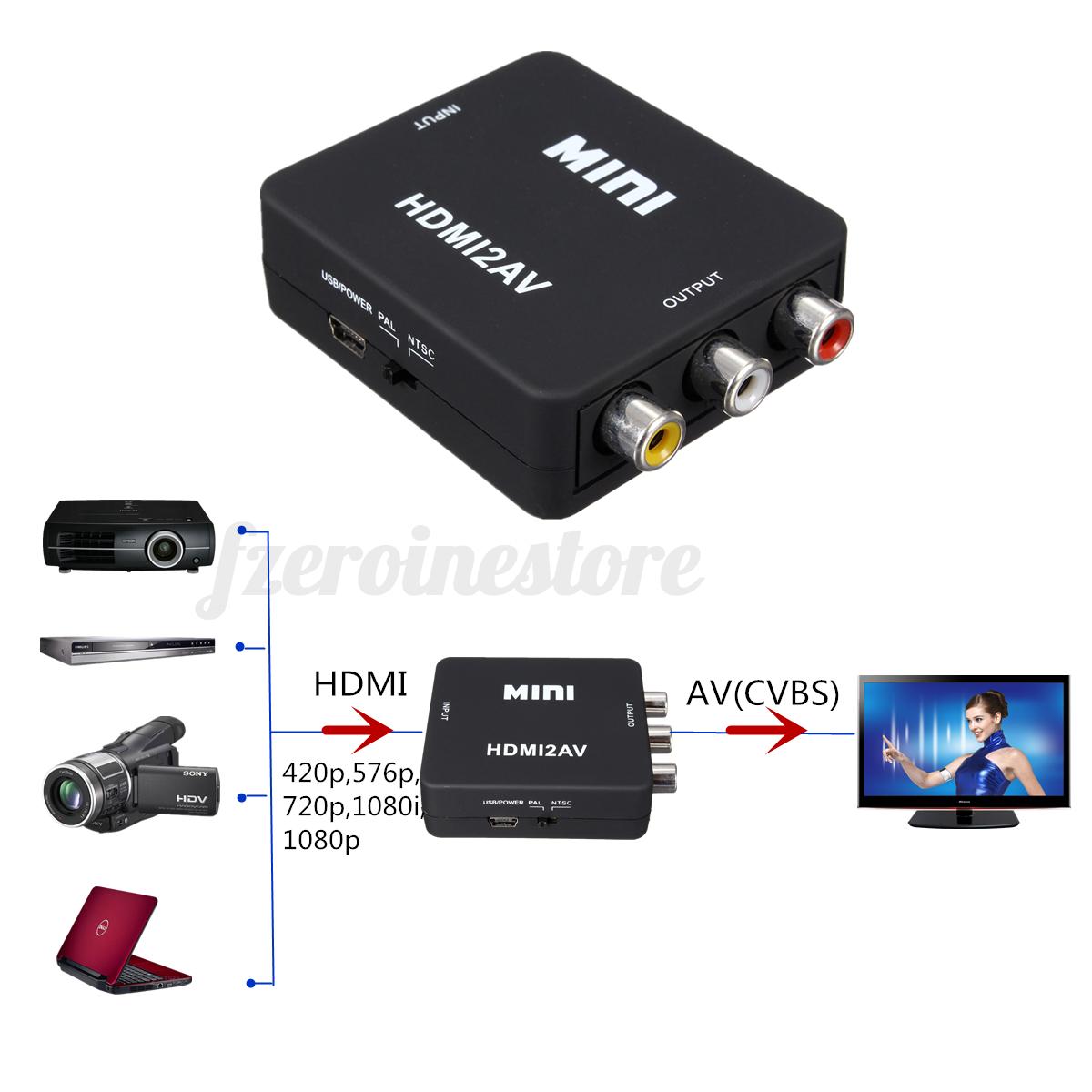 mini composite 720p 1080p hdmi to 3rca audio video av cvbs adapter converter tv ebay. Black Bedroom Furniture Sets. Home Design Ideas