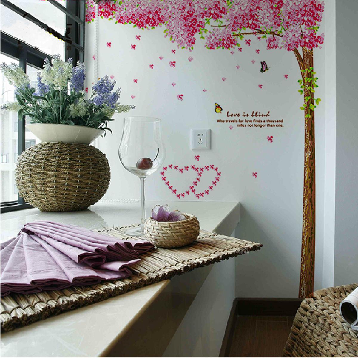 Fabulous pink cherry blossom flower tree wall sticker art for Cherry tree wall mural