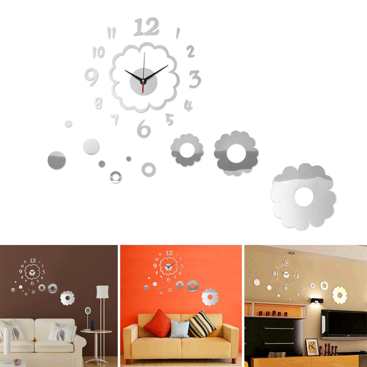 Modern acrylic mirror surface diy large wall clock sticker for Wall stickers decor modern