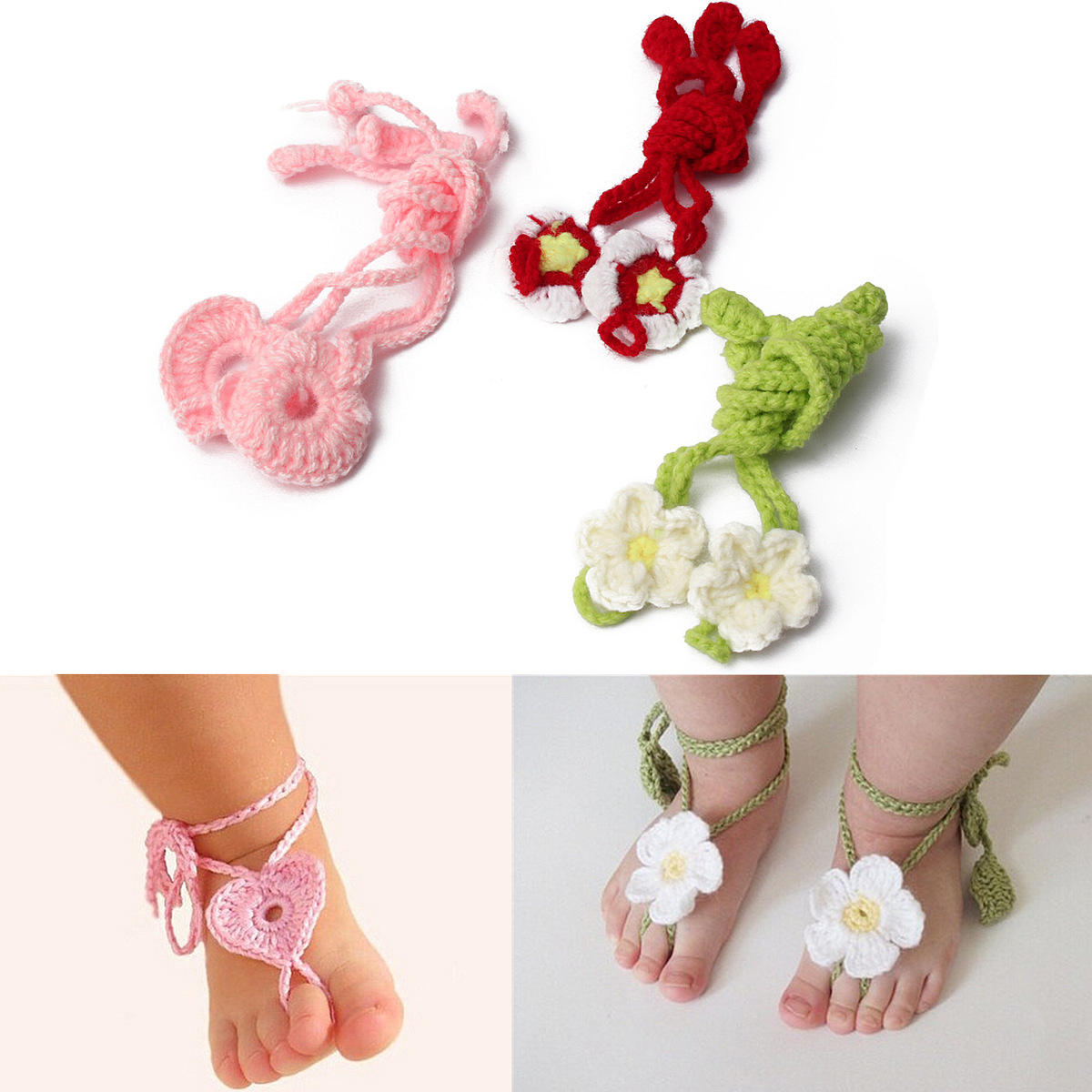 Baby infant toddler shoes flower blooms barefoot sandals for Baby feet decoration