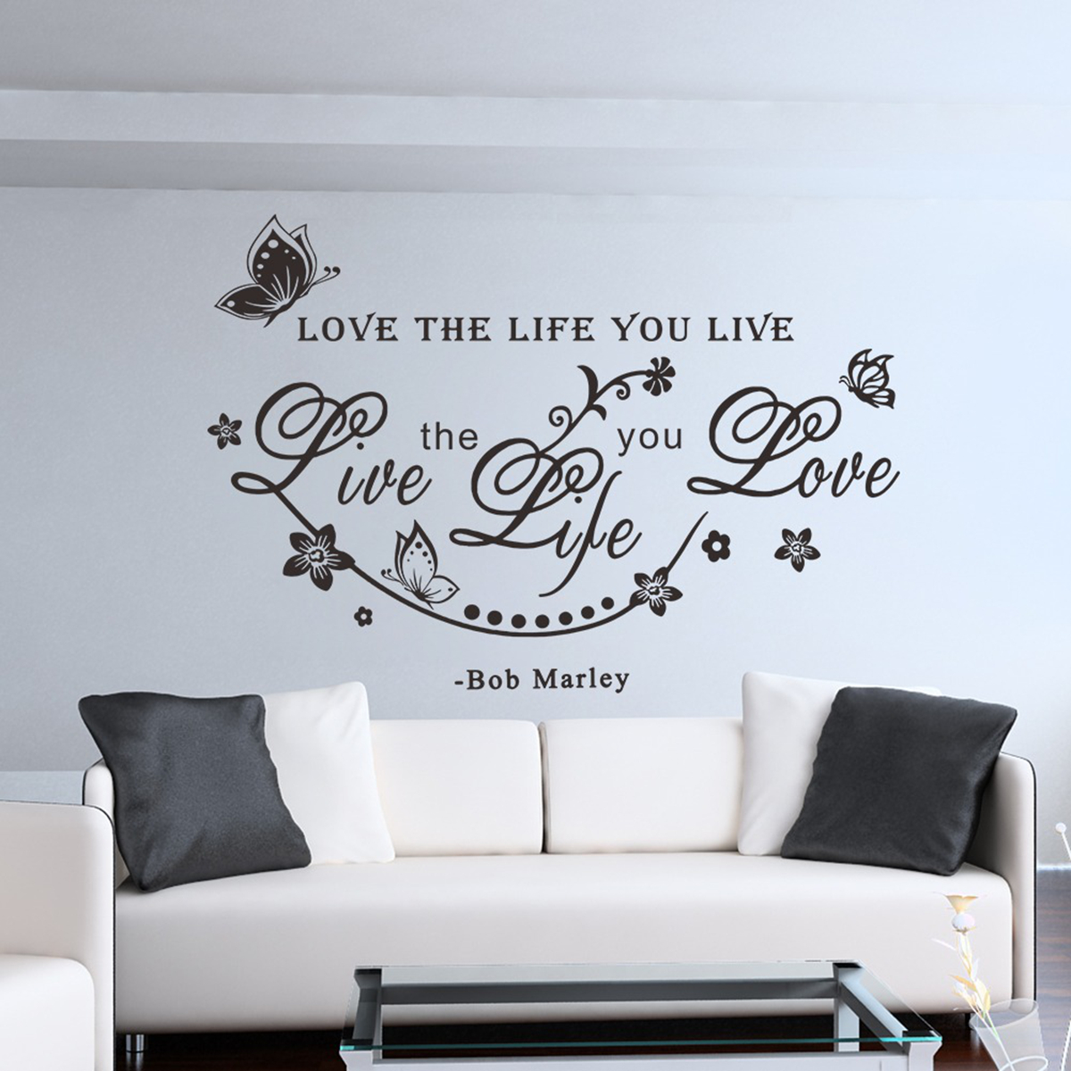 wandtattoo wandsticker wandaufkleber wohnzimmer englisch wort spruch sticker neu. Black Bedroom Furniture Sets. Home Design Ideas