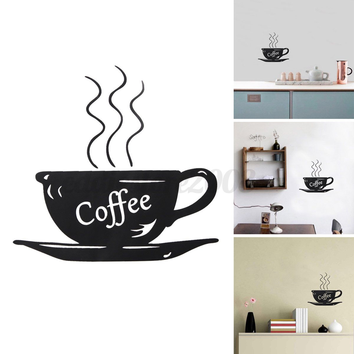 tea time cup wall stickers coffee cafe home kitchen refrigerator decal art decor ebay. Black Bedroom Furniture Sets. Home Design Ideas