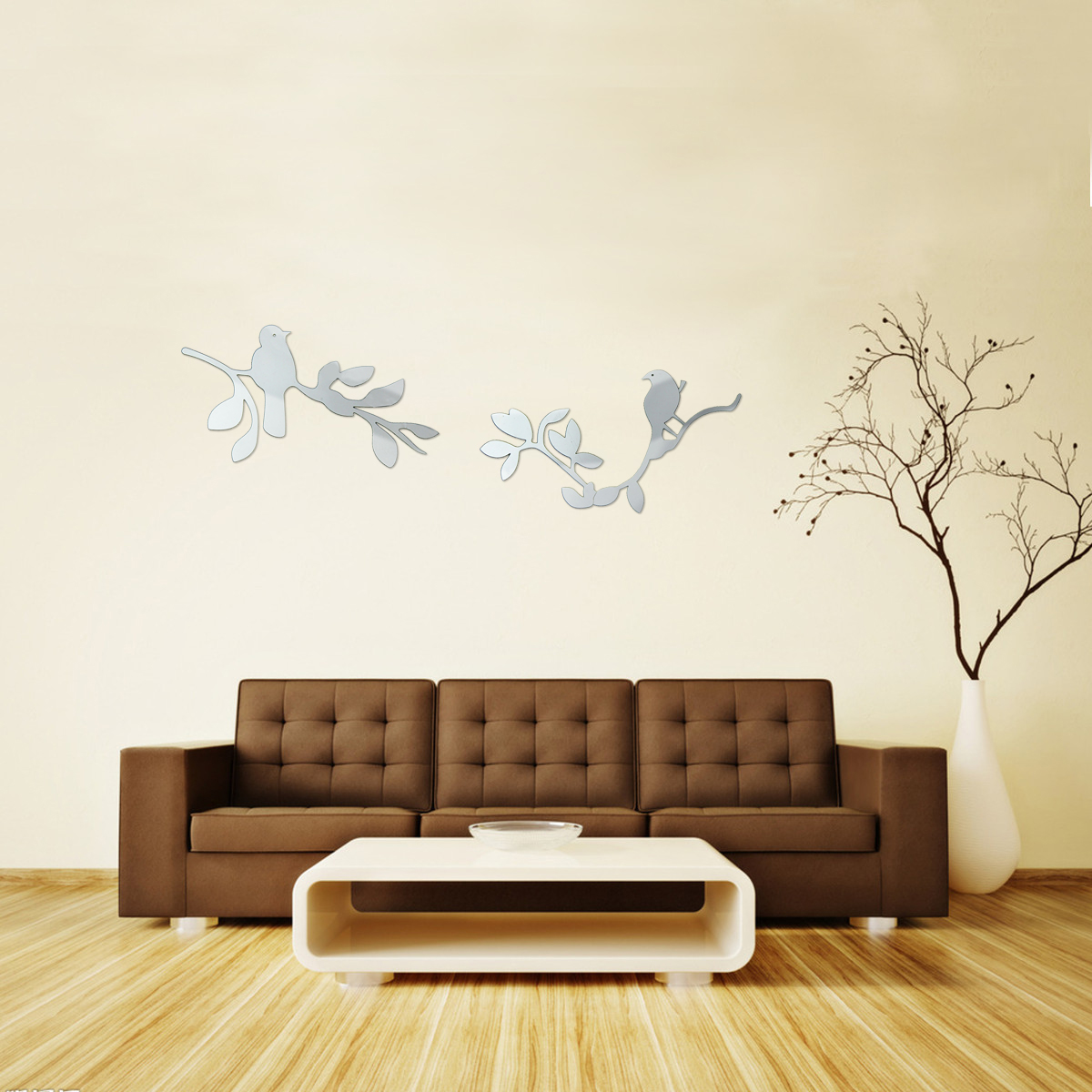 Diy silver modern mirror wall sticker cats square heart for Wall stickers decor modern