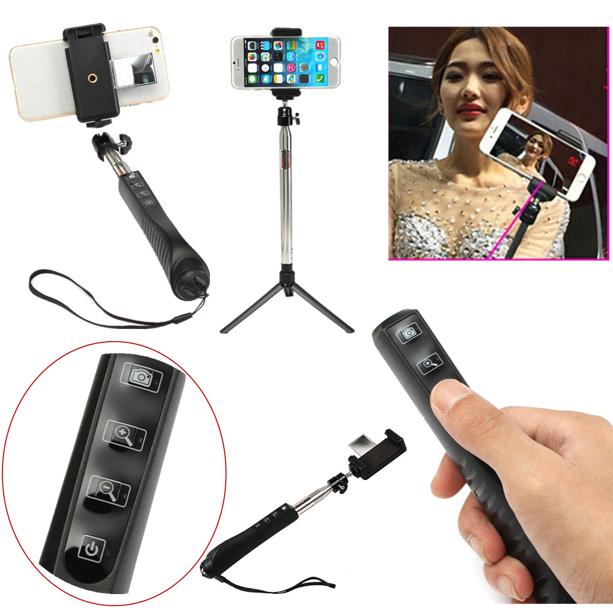 wireless bluetooth selfie stick monopod tripod for iphone 6 5 5ssamsung s6 edge ebay. Black Bedroom Furniture Sets. Home Design Ideas