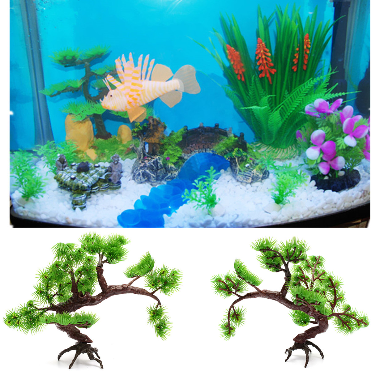 ... Arti ficial Plastic Bonsai Pine Tree Fish Tank Aquarium Ornament Decor