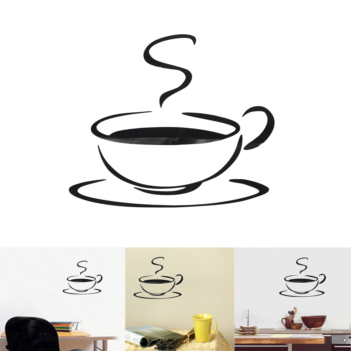 Coffee tea cup kitchen wall stickers decals decoration for Tea and coffee wall art