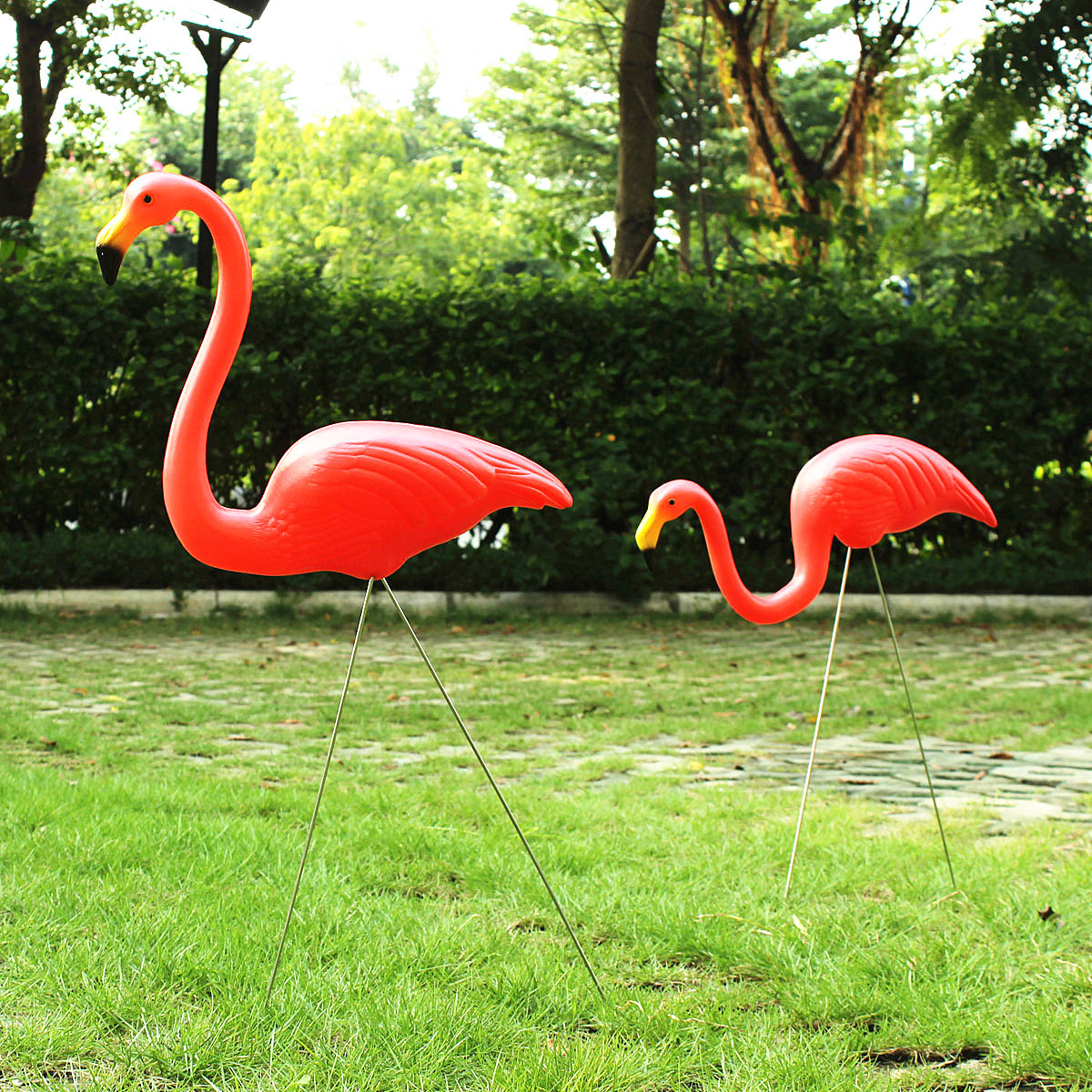 1 Pair Red Plastic Lawn Flamingo 39 S Garden Party Grassland