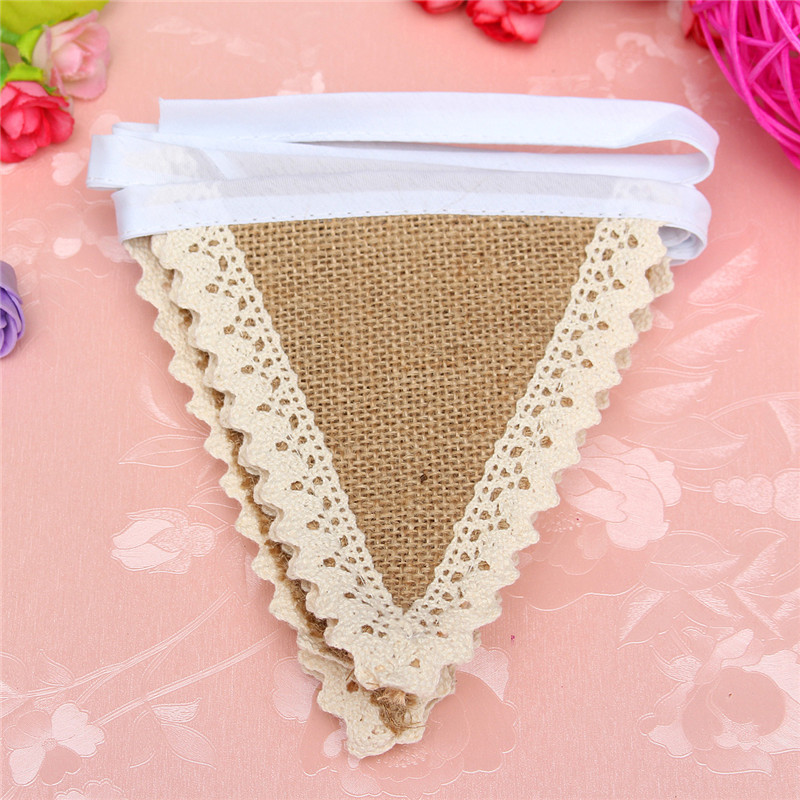Vintage Chic Hessian Burlap Banner Rustic Wedding Bunting Decor Cotton Lace