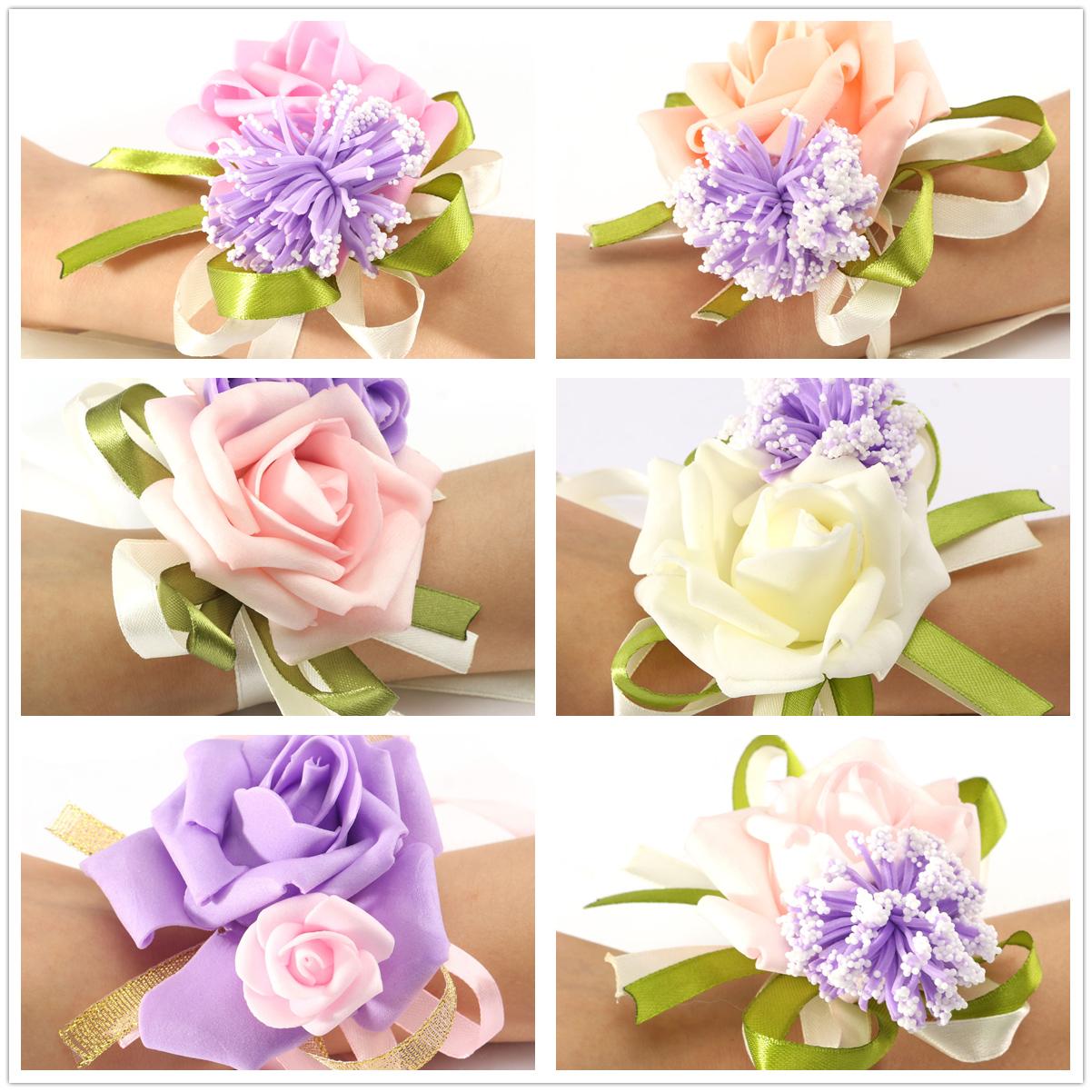 Wedding Rose Bouquet Bride Bridesmaid Flower-Girl Wand Hand Wrist ...