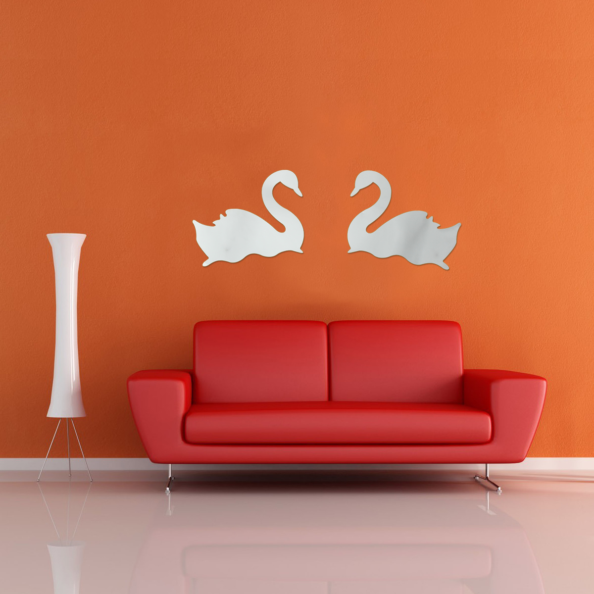 Diy 2 swans in love birds mirror acrylic wall sticker home for Diy photo wall mural