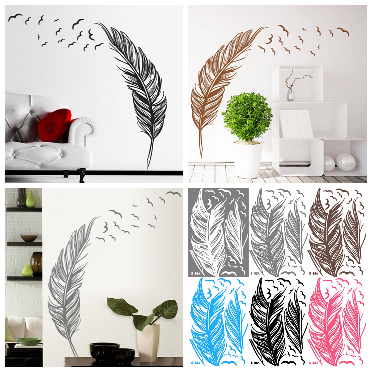 Wall sticker vinyl birds flying feather removable home for Diy wall photo mural