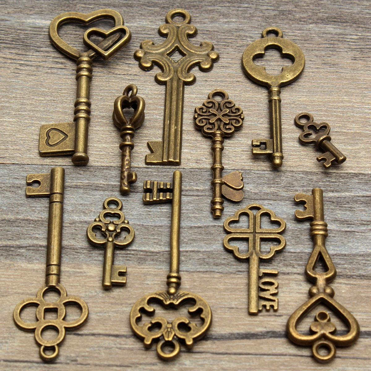 Set of 11 antique vintage old look skeleton key pendant heart bow set of 11 antique vintage old look skeleton key pendant heart bow lock steampunk ebay mozeypictures Gallery