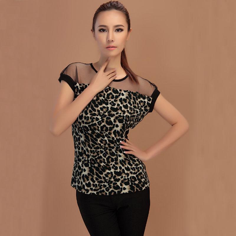 New Women Fashion Slim Leopard Short Sleeve Mesh Gauze Sheer Tops T Shirt Blouse