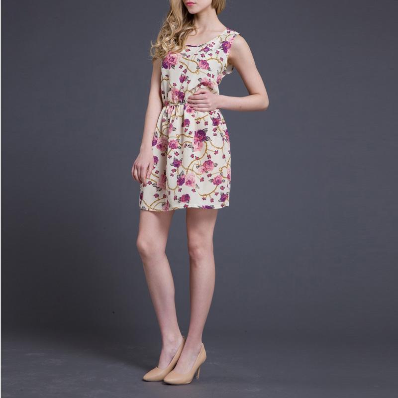 Cute Summer Ladies Chiffon Sundress Beach Flower Slim Tank Mini Dress 4 Sizes