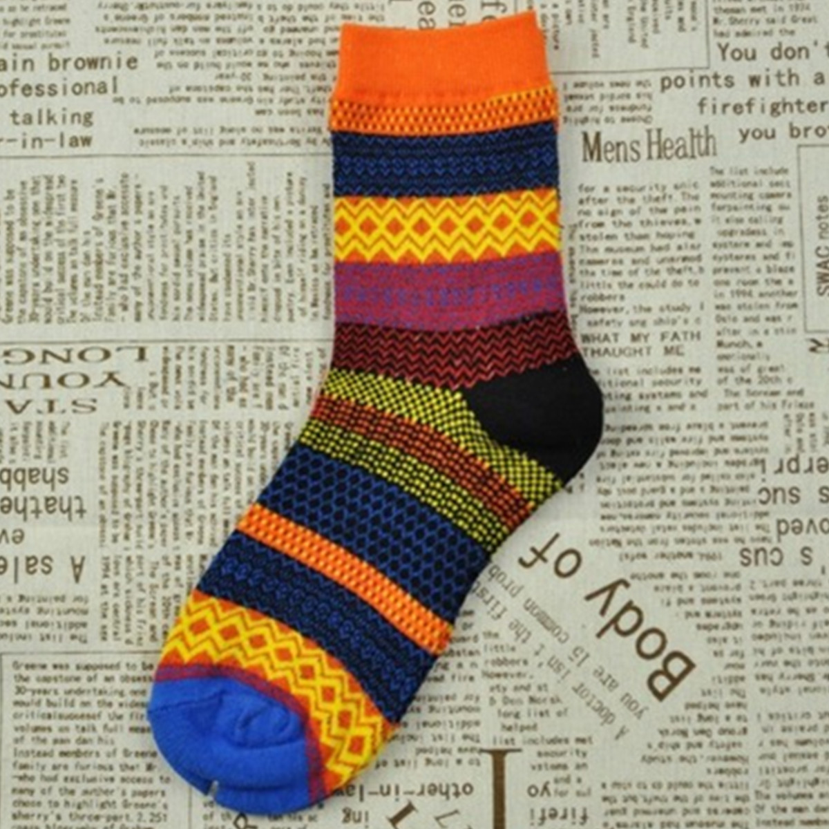 Fashion Casual Cotton Socks Design Multi-Color Fashion Dress Mens Women's Socks