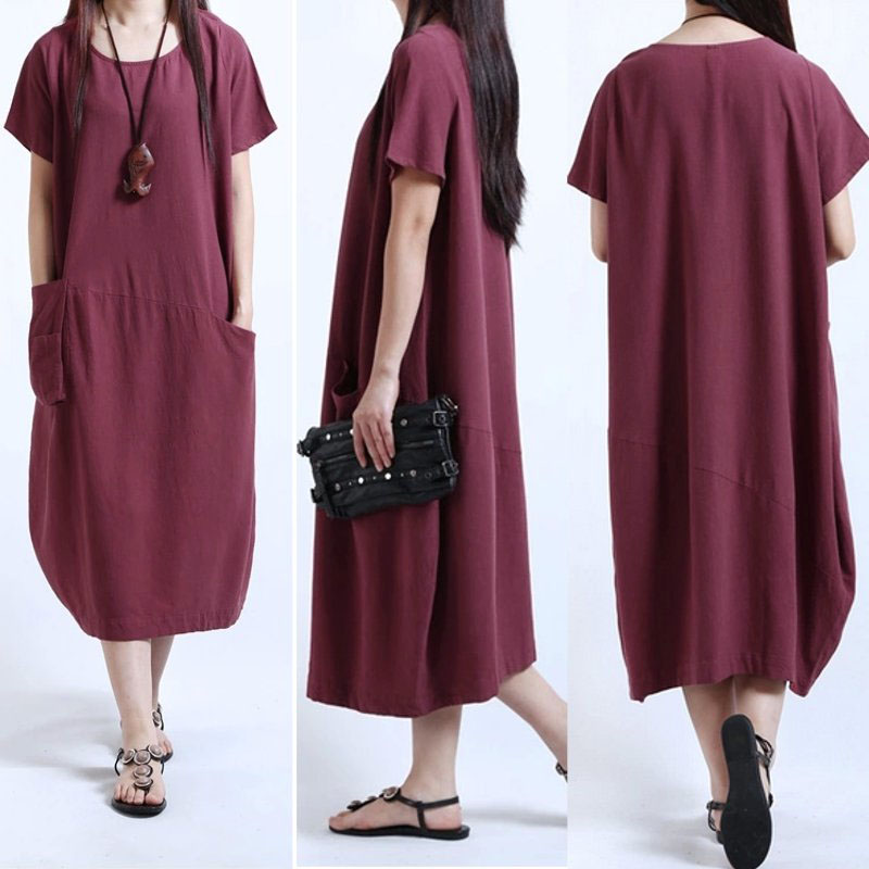 BOHO Women Summer Hippie Linen Shirt Pocket Kaftan Baggy Loose Long Shirts Dress