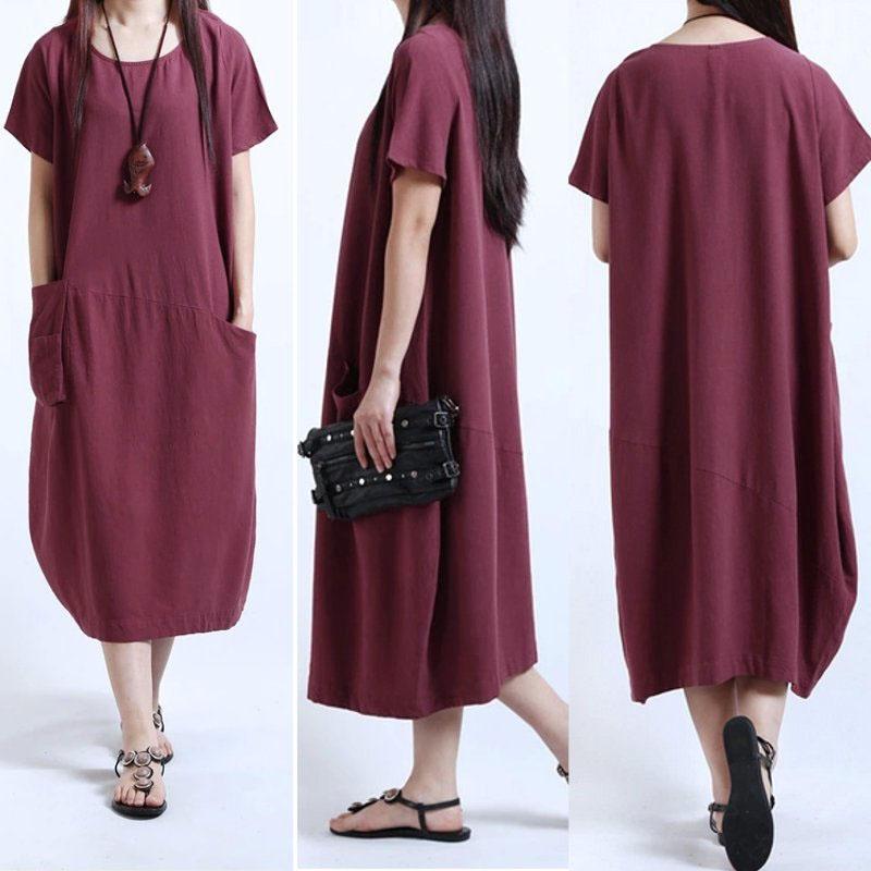 Ladies Short Sleeve Pocket Crew Neck Cotton Linen Long Dress Pullover Tops Tee