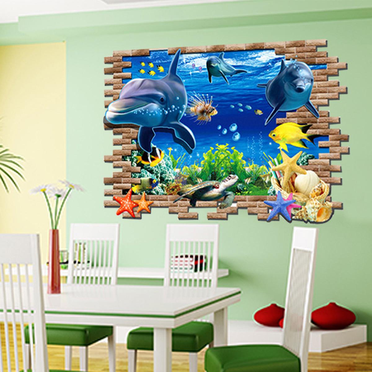Wandtattoo fisch delfine ozean meer wanddekoration vinyl aufkleber kinderzimmer ebay - Wanddekoration kinderzimmer ...