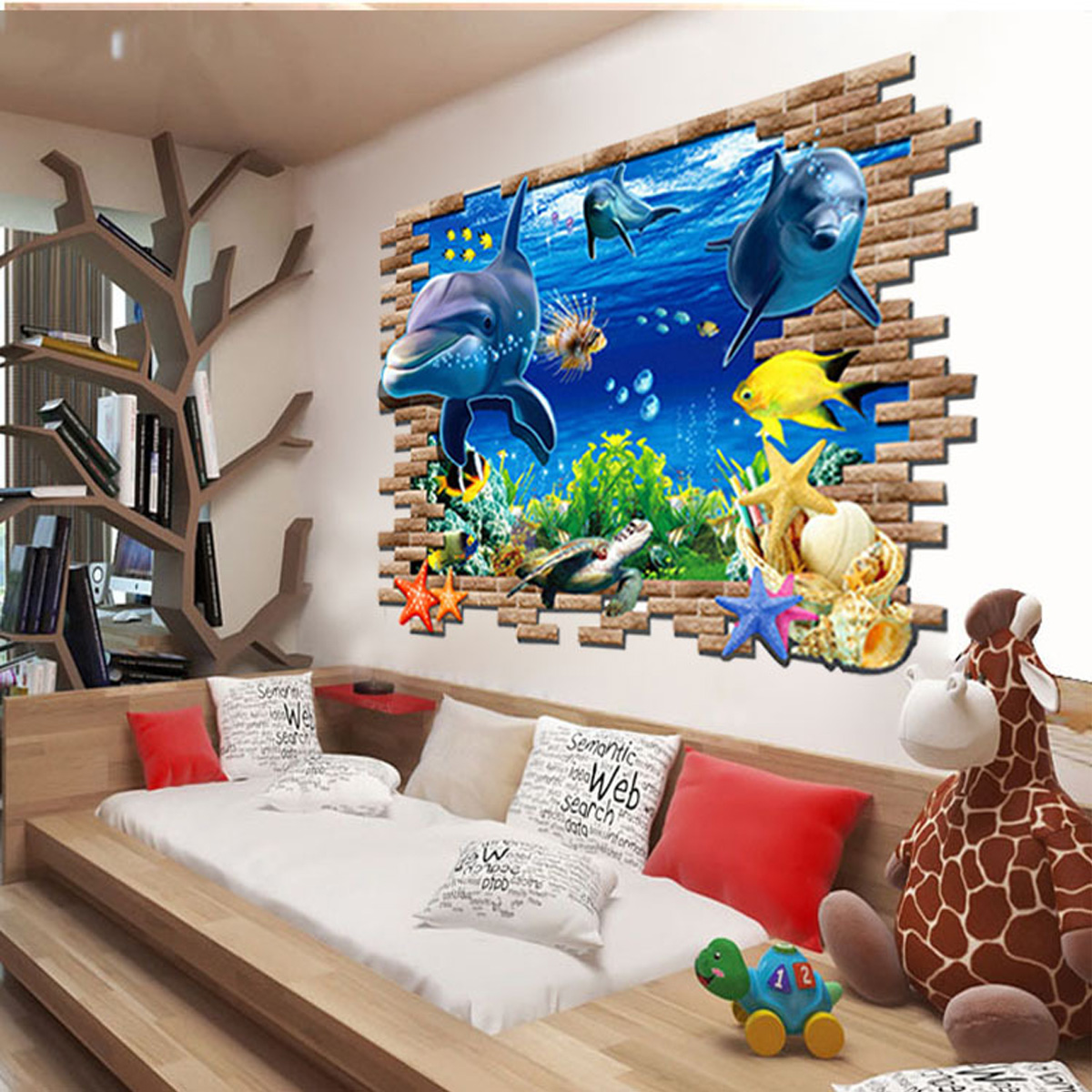 wandtattoo fisch delfine ozean meer wanddekoration vinyl aufkleber kinderzimmer ebay. Black Bedroom Furniture Sets. Home Design Ideas