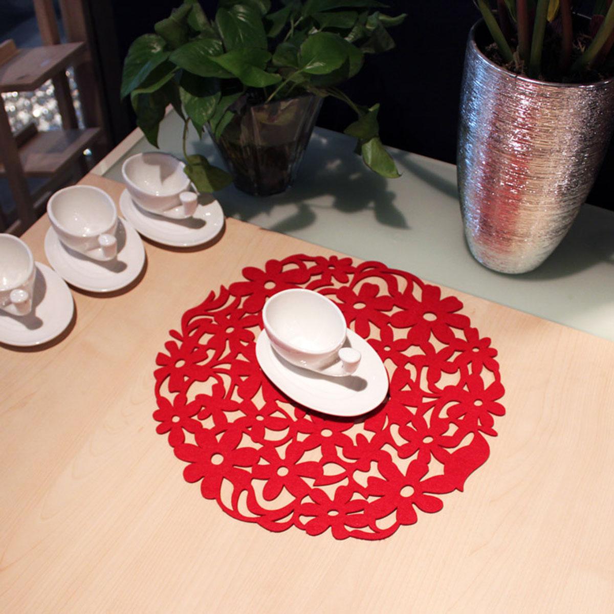 Round laser cut flower felt placemats kitchen dinner table for Dinner table placemats