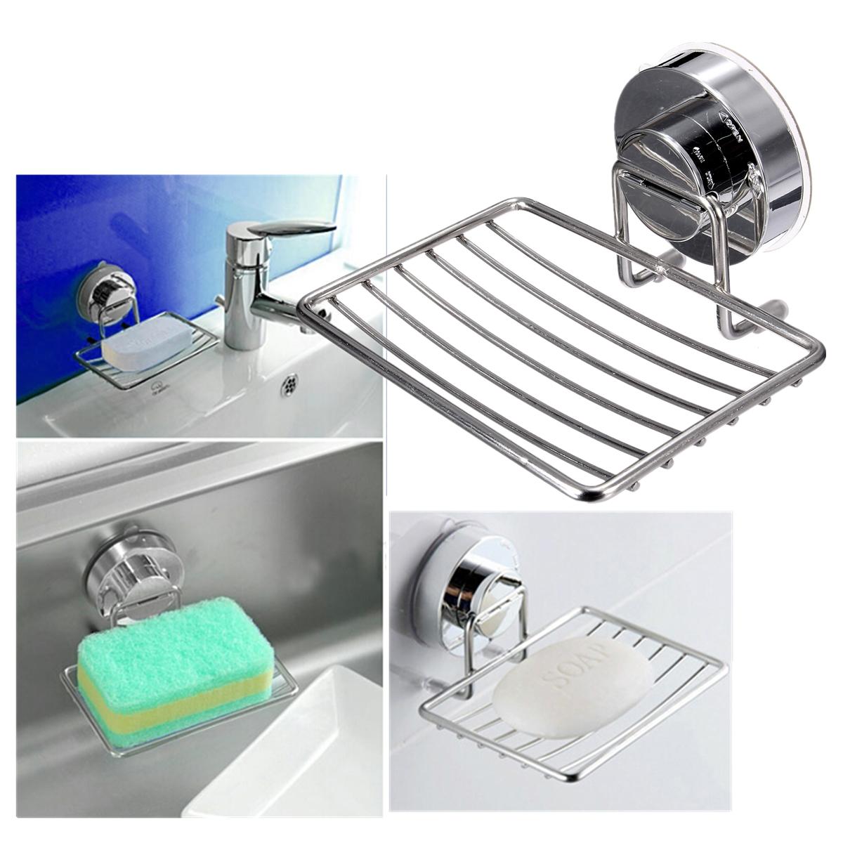 Metal support porte savon mural savonnette ventouse pour salle de bain douche ebay - Support a ventouse pour salle de bain ...