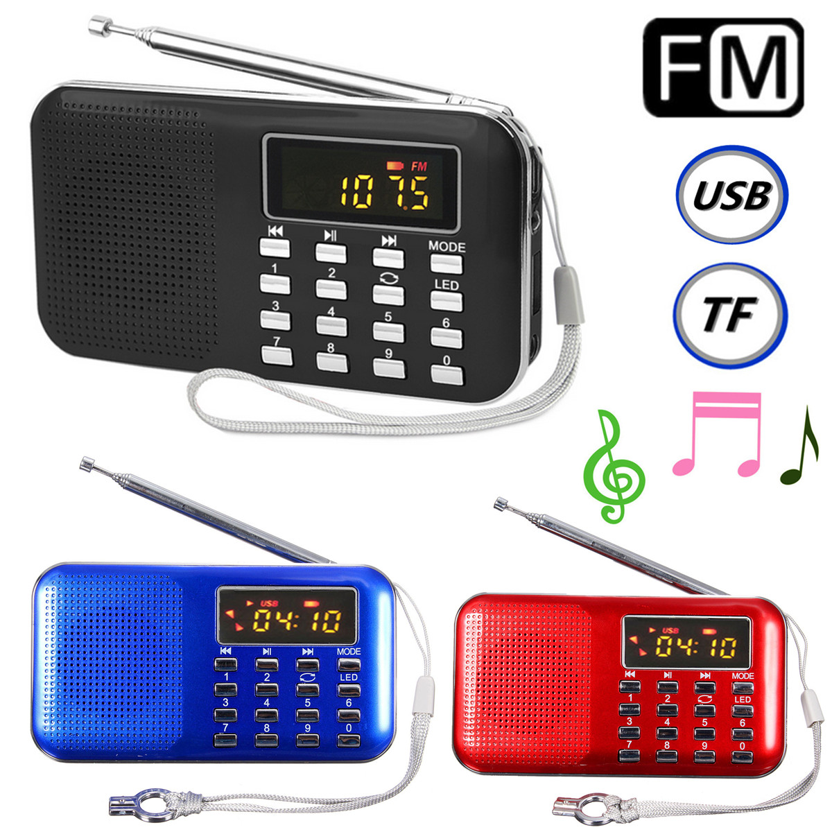 mini portable lcd digital fm radio speaker usb micro sd tf card mp3 music player ebay. Black Bedroom Furniture Sets. Home Design Ideas