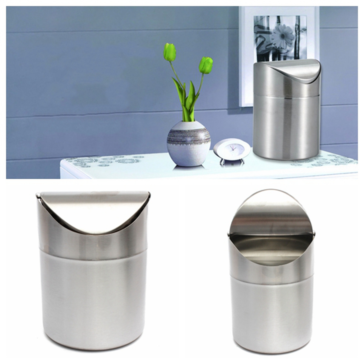 Stainless Steel Kitchen Garbage Can: 1.5L Home Kitchen Table Tidy Stainless Steel Dustbin Trash